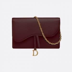 Dior Burgundy Calfskin Saddle Clutch Bag