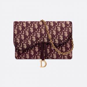 Dior Burgundy Oblique Saddle Clutch Bag