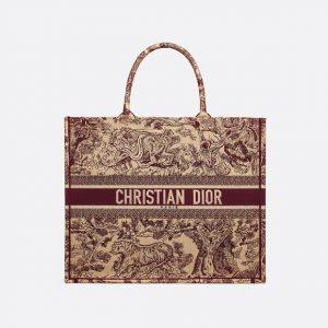 Dior Burgundy Toile de Jouy Book Tote Bag