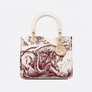 Dior Burgundy Toile de Jouy Lady Dior Bag