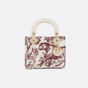 Dior Burgundy Toile de Jouy Mini Lady Dior Bag