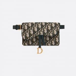Dior Green Oblique Saddle Belt Pouch Bag