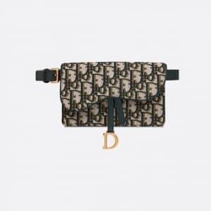 Dior Green Oblique Saddle Belt Pouch Bag