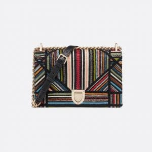 Dior Multicolor Embroidered Stripes Diorama Flap Bag