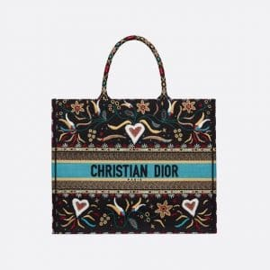 Dior Multicolor Floral and Heart Embroidered Book Tote Bag