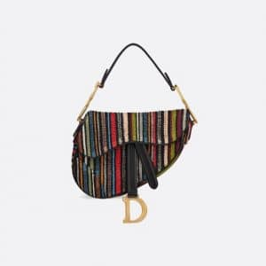 Dior Muticolor Striped Embroidered Mini Saddle Bag