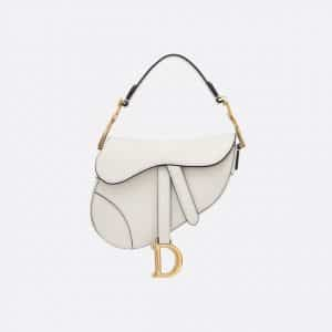 Dior Off-White Calfskin Mini Saddle Bag