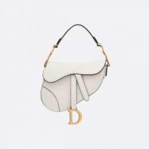 Dior Off-White Calfskin Mini Saddle Bag