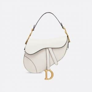 Dior Off-White Calfskin Saddle Bag