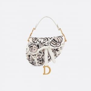 Dior Off-White Floral Embroidered Mini Saddle Bag