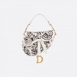 Dior Off-White Floral Embroidered Mini Saddle Bag