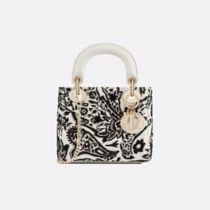 Dior Off-White/Black Floral Embroidered Mini Lady Dior Bag