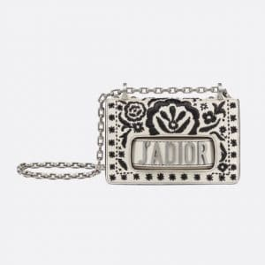 Dior Off-White/Black Leather Floral Embroidered Mini J'adior Bag