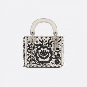 Dior Off-White/Black Leather Floral Embroidered Mini Lady Dior Bag