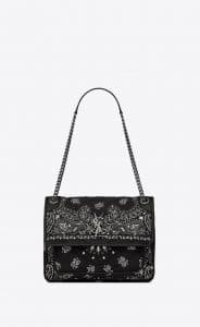 Saint Laurent Black Bandana Fabric Medium Niki Bag