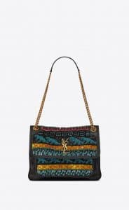 Saint Laurent Black Dinosaur Embroideries Medium Niki Bag