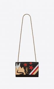 Saint Laurent Black Rock Star Patchwork Medium Kate Bag