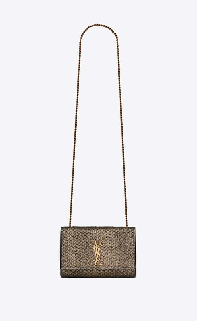 4742086afb25 Saint Laurent Gold Metallic Python-Look Small Kate Bag