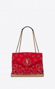 Saint Laurent Red Bandana Fabric and Jute Thread Medium Loulou Bag