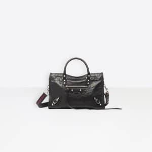 Balenciaga Black Classic Silver City S Logo Strap Bag