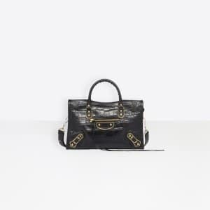 Balenciaga Black Crocodile Effect Metallic Edge Classic City S Bag