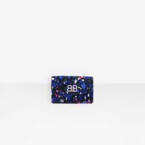 Balenciaga Blue/Pink Quilted Velvet BB Wallet On Chain