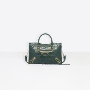Balenciaga Green Crocodile Effect Metallic Edge Classic City S Bag