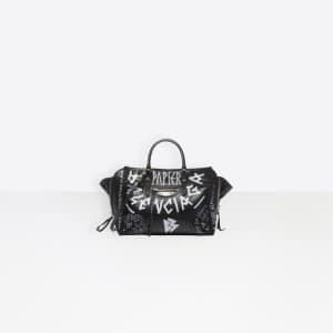 Balenciaga Noir/Blanc Graffiti Papier A6 Zip Around Bag