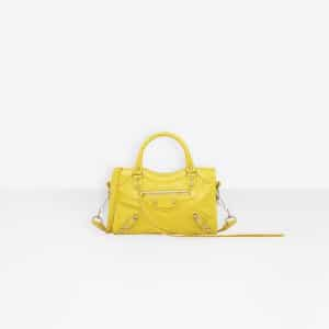 Balenciaga Yellow Classic Silver Mini City Bag