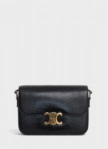 Celine Black Lizard Medium Triomphe Bag