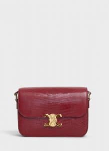 Celine Light Burgundy Lizard Medium Triomphe Bag
