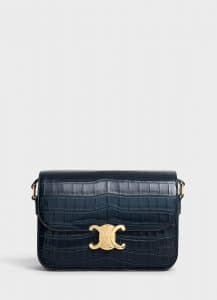 Celine Navy Blue Crocodile Medium Triomphe Bag