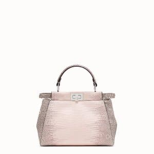 Fendi Beige Lizard Peekaboo Mini Bag
