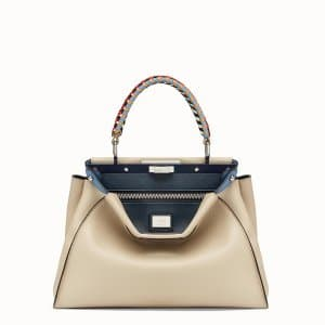 Fendi Beige Peekaboo Medium Bag with Braided Handles