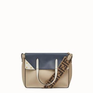 Fendi Beige/Dark Blue Leather/Suede Flip Small Bag