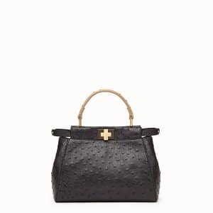 Fendi Black Ostrich Peekaboo Mini Bag