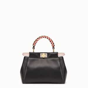 Fendi Black Peekaboo Mini Bag with Braided Handles