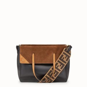 Fendi Black/Brown Leather/Suede Flip Regular Bag