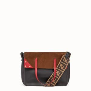 Fendi Black/Red Leather/Suede Flip Small Bag