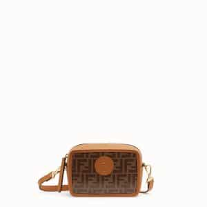 Fendi Brown Canvas FF Pattern Mini Camera Case Bag