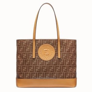 Fendi Brown Fabric FF Pattern Shopping Logo Bag