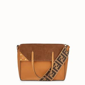 Fendi Brown Leather/Suede Flip Regular Bag