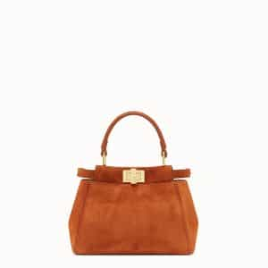 Fendi Brown Suede Peekaboo XS Bag