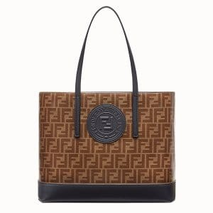 Fendi Brown/Black Fabric FF Pattern Shopping Logo Bag