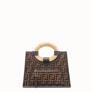 Fendi Brown/Black Leather FF Pattern Small Runaway Shopper Bag