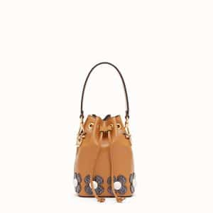 Fendi Caramel Leather with Elaphe Flowers Small Mon Tresor Bucket Bag
