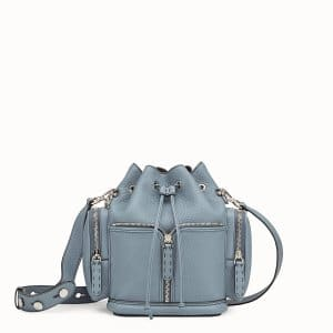 Fendi Light Blue Small Mon Tresor Bucket with Pockets Bag