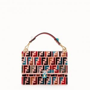 Fendi Pink Silk/Leather FF Pattern Kan I Bag