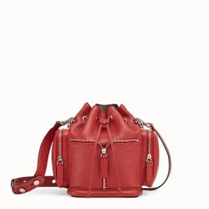 Fendi Red Small Mon Tresor Bucket with Pockets Bag