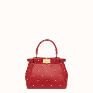 Fendi Red Star Embellished Peekaboo XS Bag
